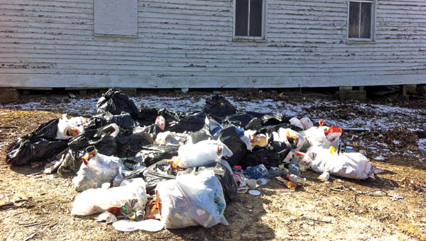 Household waste was illegally dumped on a church parking lot at 76 Township Road 1485 in South Point at the intersection of Burlington-Macedonia and Charlie Creek roads in Fayette Township.