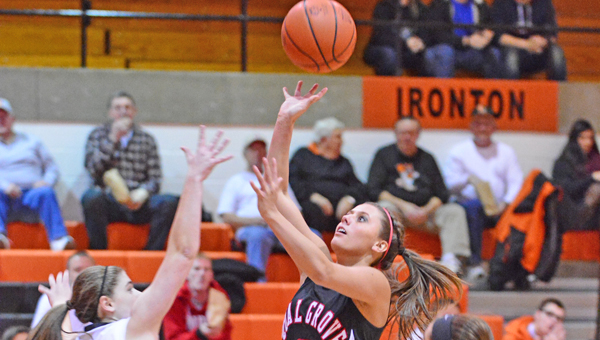 Coal Grove Lady Hornets' senior guard Jacy Jones (3) scored 21 points including two free throws with 2:20 left in the third quarter that gave her 1,000 career points. However, the Lady Hornets lost to Ironton 60-34 on Thursday in an OVC game. (Kent Sanborn of Southern Ohio Sports Photos)