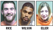 William Rice, left, surrendered to authorities Wednesday evening. Justin Wilson is still at large. Nichole Eller, right, was arrested on Tuesday, the night of the shooting.