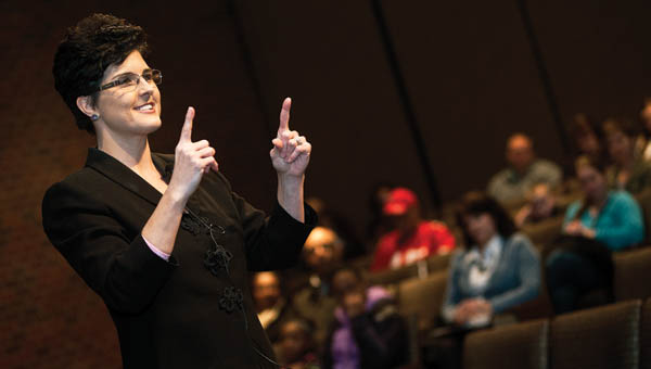Katrina Keith addresses eventgoers.