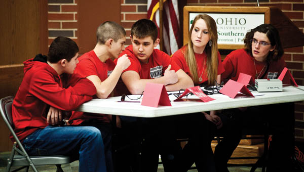 THE TRIBUNE/JESSICA ST JAMES Symmes Valley Middle School students Nat Harmon, John Higgins, Hunter Humphreys, Britney Dement and Taylor Mullins competed against Rock Hill Middle School.