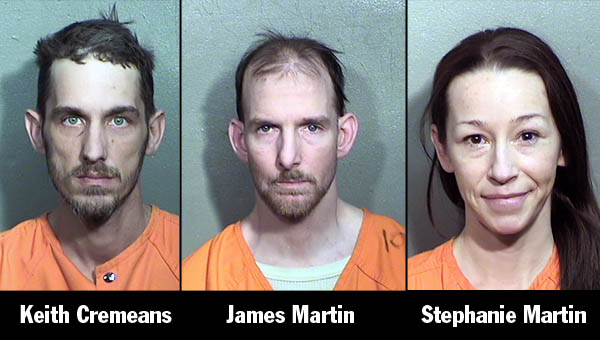 James E. Martin II, 39, Stephanie L. Martin, 42, and Keith P. Cremeans, 37, were stopped in a vehicle and all three has warrants out for their arrest.