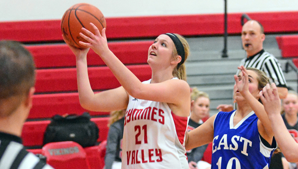 Symmes Valley Lady Vikings' senior Kelsey Massie scores inside during Wednesday's 58-8 Southern Ohio Conference win over the Sciotoville East Lady Tartans on senior night. (Kent Sanborn of Southern Ohio Sports Photos)