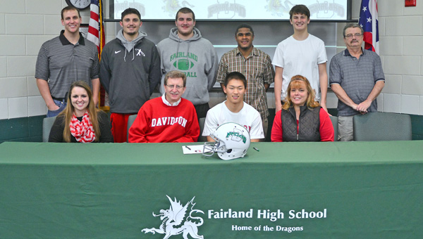 Fairland Dragons' senior defensive back Nathan Campbell signed a national letter of intent Wednesday with the Davidson Wildcats. Attending the ceremony were: seated from left to right, sister Kamryn, father Jon, Nathan and mother Kenda; standing from left to right, Josh Petry, teammates Dylan Murphy and Tyler Campbell, Rashad Jackson, teammate Chance Short, and Clayton Dement. (Kent Sanborn of Southern Ohio Sports Photos)