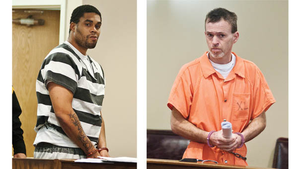 Justin Wilson, left, and Bryan Shaffer,  appear in front of Judge John Hall in Lawrence County Municipal Court Friday.
