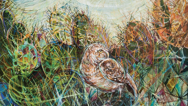 """""""Owl in the Desert,"""" pencil and ink on paper."""