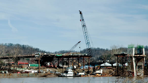 View of construction of the new Ironton Russell Bridge from the Russell, Kentucky, side.