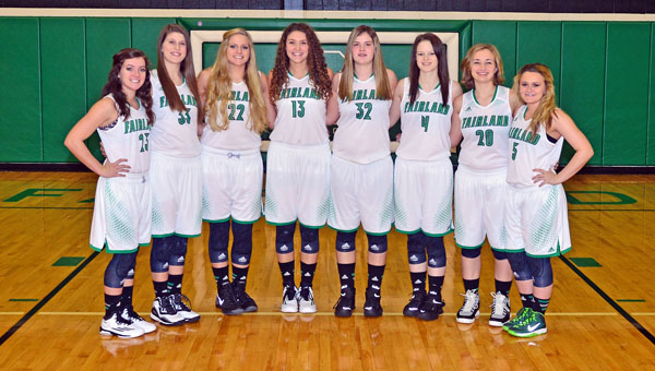 Senior members of the Fairland Lady Dragons' basketball team are: from left to right, Caitlin Stone, Jenna Fulks, Kelsey Riley, Mackenzie Riley, Nicole Wagner, Taylor Staten, Sarah Warnock and Donyele Edwards.  Fairland plays in the Division III state tournament at 8 p.m. on Thursday. (Kent Sanborn of Southern Ohio Sports Photos)