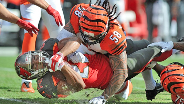 Cincinnati Bengals' linebacker Rey Maualuga signed a 3-year contract Thursday to remain with the team. (MCT DIRECT PHOTO)