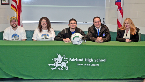 Fairland Dragons' senior wide receiver Dylan Murphy signed a letter-of-intent Tuesday to play football for Urbana University. Attending the signing ceremony were: seated from left to right, step-father Jason Ward, mother Kari Ward, Dylan, father Joe Murphy and Janet McCormick. (Kent Sanborn of Southern Ohio Sports Photos)