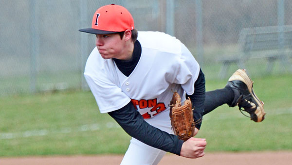 Ironton Fighting Tigers' Cody Rawlins fires a strike as he picks up the victory in a season-opening win. Ironton beat St. Joseph 11-1 and downed Rock Hill 3-2 in the Mike Burcham Wood Bat Classic. (Kent Sanborn of Southern Ohio Sports Photos)