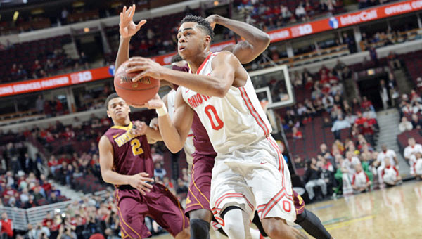 Ohio State's D'Angelo Russell (0) scored 23 points as the Buckeyes beat Minnesota 79-73 in the Big Ten Tournament. (Courtesy of the Big Ten Conference.com)