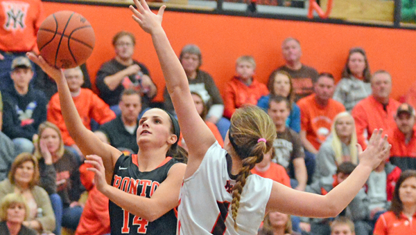 Ironton Lady Fighting Tigers' Taylor Hannan (14) drives past Nelsonville-York's Camrin Dupler (1)  for a layup in a 63-42 rout of the Lady Buckeyes in the Division III district championship game on Friday. (Kent Sanborn of Southern Ohio Sports Photos)