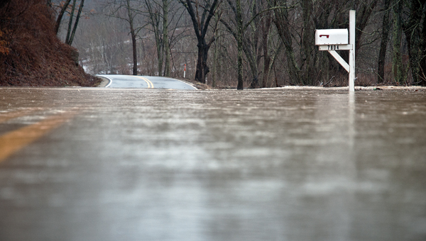 Floodwaters take over County Road 4 in Pedro near the 8-mile marker on Wednesday afternoon.