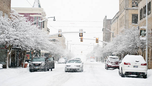 A Level 2 snow emergency kept many residents at home during the business day in downtown Ironton on Thursday.