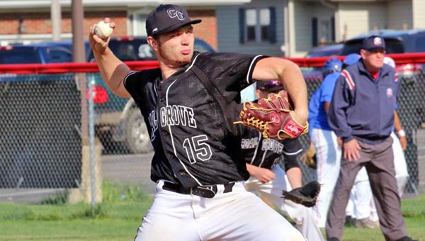 Coal Grove pitcher Jacob Pierce delivers a pitch during Wednesday's 6-4 win over the Portsmouth Trojans in an Ohio Valley Conference game. (Kent Sanborn of Southern Ohio Sports Photos)