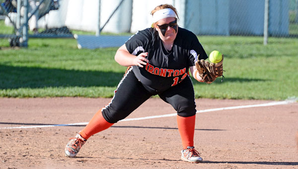 Ironton Lady Fighting Tigers' Aley Carmon uses the tip of her glove to make a catch during Tuesday game. Ironton downed the Rock Hill Redwomen 5-3. (Kent Sanborn of Southern Ohio Sports Photos)