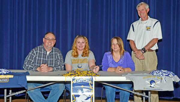 South Point Lady Pointers' senior Barbara Collins signed a letter-of-intent Wednesday to play golf at Alderson-Broaddus University. Attending the ceremony were: from left to right, father John Stevens, Barbara, mother Shawna Stevens and Pointers' golf coach Greg Jones. (Kent Sanborn of Southern Ohio Sports Photos)
