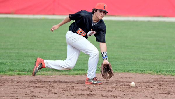 Ironton Fighting Tigers' shortstop Luke Diamond sets up to throw to first base. Diamond had three hits in a 5-4 win over Coal Grove. (Kent Sanborn of Southern Ohio Sports Photos)