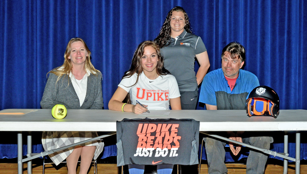 South Point Lady Pointers senior first baseman Sylvia Griffith signed a letter-of-intent to play for the University of Pikeville. Attending the ceremony were: seated from left to right, mother Jennifer Griffith, Sylvia, and father Donald Griffith; standing is UPike coach Christine Sheridan. (Kent Sanborn of Southern Ohio Sports Photos)