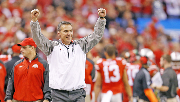 Ohio State Buckeyes' head coach Urban Meyer will get a chance to see his team in action for the first time since the national championship game during Saturday's annual spring game.  (Sam Riche/TNS)