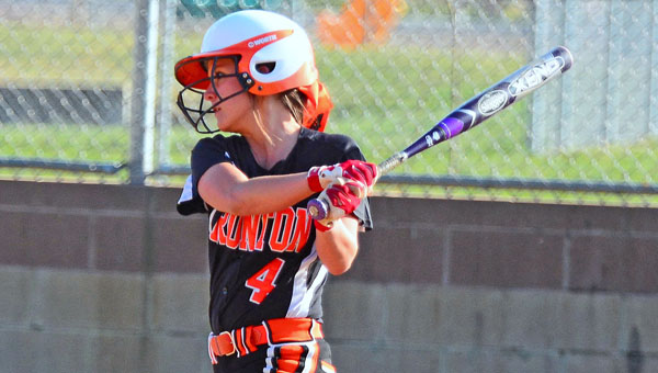 Ironton Lady Fighting Tigers' Taylor Monk connects for a hit during Monday's win over the Green Lady Bobcats. Ironton also beat Portsmouth on Tuesday in an OVC game. (Kent Sanborn of Southern Ohio Sports Photos)
