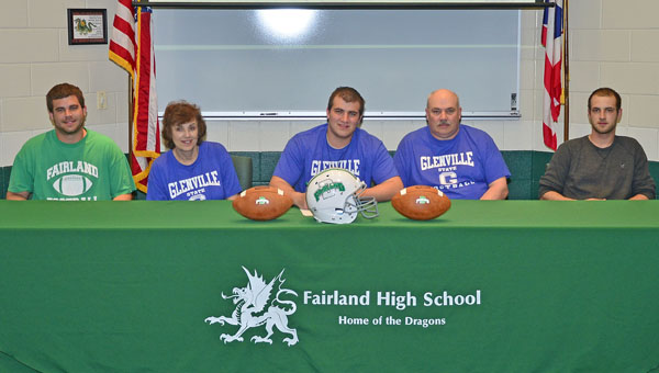 Fairland Dragons' senior lineman Tyler Campbell signed a letter-of-intent to play football at Glenville State on Tuesday. Attending the signing ceremony were, seated from left to right, brother Matt Campbell, mother Connie, Tyler, father Tim and brother Steven Walker. (Kent Sanborn of Southern Ohio Sports Photos)