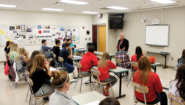 Congressman Bill Johnson talks about a number of topics to students on Monday afternoon at Rock Hill High School.