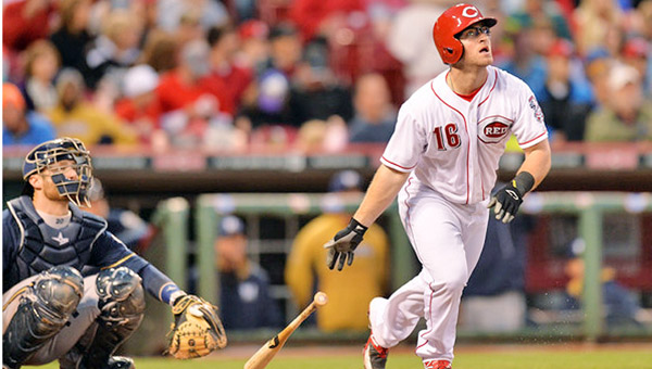 Cincinnati catcher Tucker Barnhart hit a sacrifice fly to drive in Brandon Phillips with the Reds' only run in a 2-1 loss to Atlanta on Monday. (Photo Courtesy of The Cincinnati Reds)