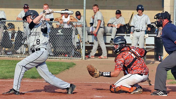 Coal Grove Hornets' Dylan Malone (8) connects for a hit during Thursday's Ohio Valley Conference game. The Hornets kept their OVC title hopes alive with a 5-2 win over Ironton. (Tim Gearhart of Tim's News & Novelties, Park Ave. in Ironton)