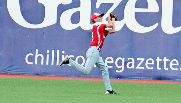 Symmes Valley Vikings' centerfielder Tylor Carpenter makes a running catch during Monday's Division IV district championship game. The Vikings fell to Paint Valley 5-4 in eight innings. (Kent Sanborn of Southern Ohio Sports Photos)