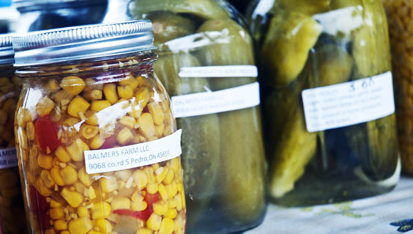 Canned items, from Balmer's Farm in Pedro, are some of the items that can be purchased at the Ironton Farmers Market.
