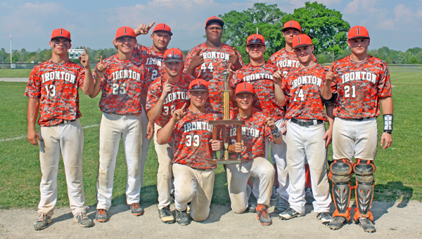 Members of the Ironton Fighting Tigers' baseball team that won the Rock Nelson Wooden Bat Classic are: kneeling from left to right, Luke Kelley and Luke Diamond; standing from left to right, Garrett Carrico, Dane Wilson, Hunter Klaiber, Andy Bruce, Larry Morris, Tanner Price, Cody Rawlins, Kyle Kleinman and Hunter Weber. (Photo Submitted)