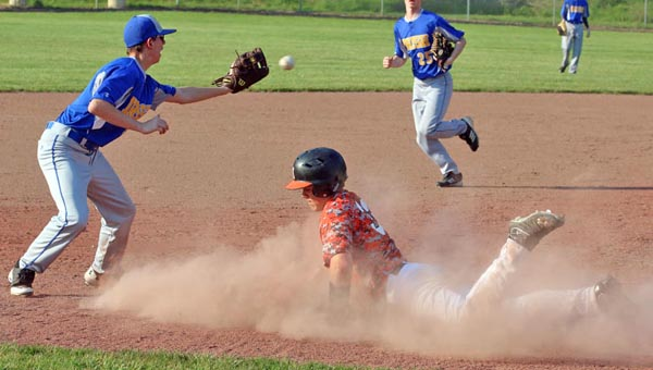 Ironton Fighting Tigers' Luke Kelley slides safely into second base during the third inning of Wednesday's game against the Huntington St. Joseph Irish. Ironton rolled to a 14-1 win in five innings. ( Kent Sanborn of Southern Ohio Sports Photos)