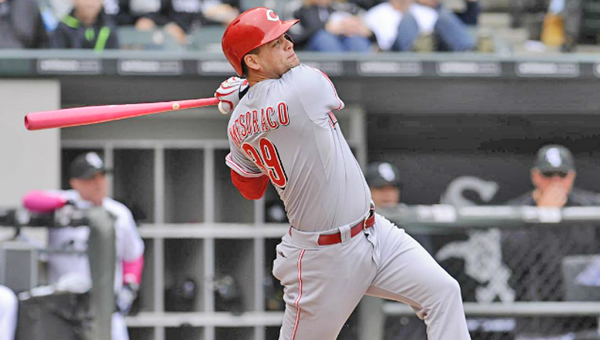 Cincinnati's Devin Mesoraco slams an RBI triple during Sunday's game against the Chicago White Sox. The Reds lost 4-3 in the bottom of the ninth inning. (Photo Courtesy of The Cincinnati Reds)