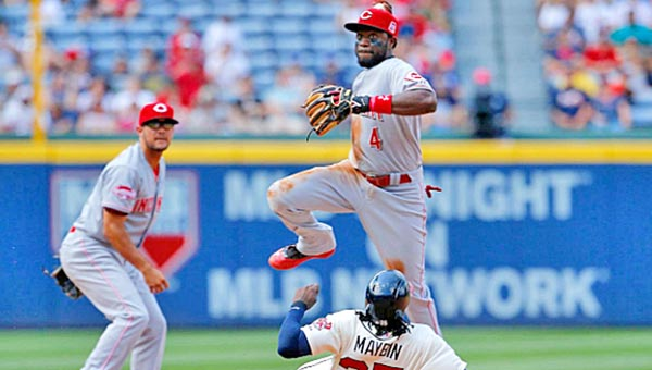 Cincinnati second baseman Brandon Phillips turns a double play in the sixth inning of Sunday's game against the Atlanta Braves. The Reds lost 5-0. (Courtesy of The Cincinnati Reds.com)