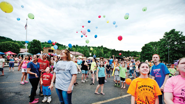 Symmes Valley students, faculty members as well as their friends and family gathered for a annual balloon launch during the school's Relay for Life event on Friday.