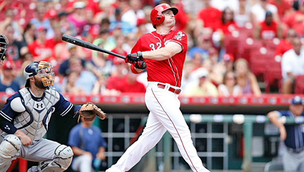 Cincinnati outfielder Jay Bruce connects for a three-run homer in the sixth inning in the Reds 4-0 win over the San Diego Padres on Sunday. Bruce hit a solo home run in the third inning and now has nine on the season. (Photo Courtesy of The Cincinnati Reds)