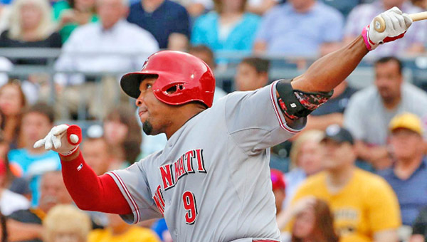 Cincinnati outfielder Marlon Byrd connects for a two-run homer in the first inning as the Reds beat the Pittsburgh Pirates 5-2 on Wednesday. (Courtesy of The Cincinnati Reds.com)