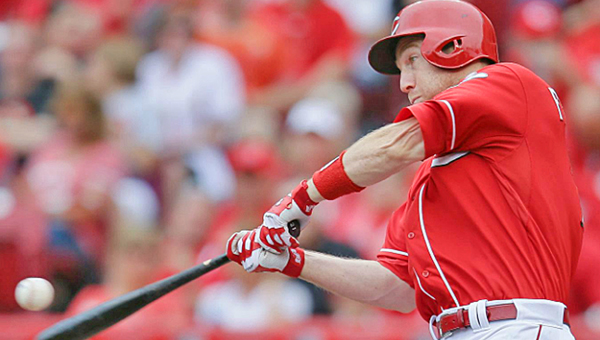 Cincinnati Reds' third baseman Todd Frazier was named the National League Player of the Week on Sunday. Frazier led the league in hitting (.500), slugging percentage (1.227), and tied for the league lead in doubles (4) and home runs (4) while ranking second in on-base percentage (.560) and tied for third in hits (11) and runs batted in(7). He finished the week with a four-game hitting streak — all multi-hit games — as he went 10-for-15 for .667 with four doubles, three home runs and five RBI. This is Frazier's first career Player of the Week award and the first won by a Reds' player this season. (Courtesy of The Cincinnati Reds.com)