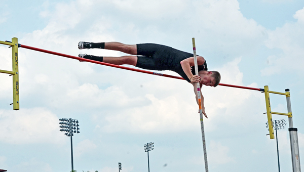 Coal Grove Hornets' sophomore Eli Willis clears 13-feet in the pole vault at the Division III state meet for a personal best height. (Jimmy Walker/The Ironton Tribune)