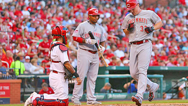 Cincinnati Reds' outfielder Jay Bruce hit a solo home run in the second inning — the 199th of his career — to account for the only run in a 1-0 shutout win over the St. Louis Cardinals on Wednesday. (Courtesy of The Cincinnati Reds.com)