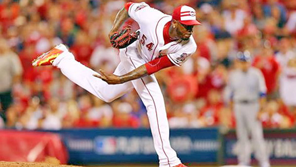 Cincinnati Reds' reliever Aroldis Chapman struck out all three batters he faced in the ninth inning during Tuesday's Major League Baseball All-Star Game. The American League beat the National League 6-3. (Courtesy of The Cincinnati Reds.com)