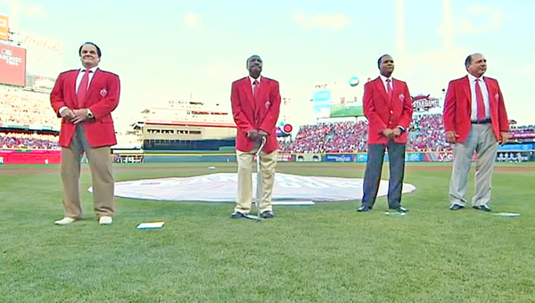 Cincinnati honored the Franchise Four — the top four players of each Major League Baseball franchise as voted on by the fans — prior to Tuesday's All-Star Game. The top four Reds' players of all-time were, left to right, Pete Rose, Joe Morgan, Barry Larkin and Johnny Bench. Bench was named to the four greatest living players along with Hank Aaron, Willie Mays and Sandy Koufax. (Courtesy of The Cincinnati Reds.com)