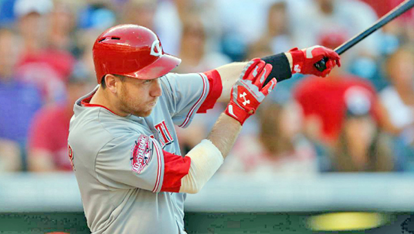 Cincinnati Reds' third baseman Todd Frazier connects on a three-run homer in a four-run third inning. The home run was the 100th of Frazier's career and helped the Reds beat the Colorado Rockies 5-2 on Saturday night. (Courtesy of The Cincinnati Reds.com)