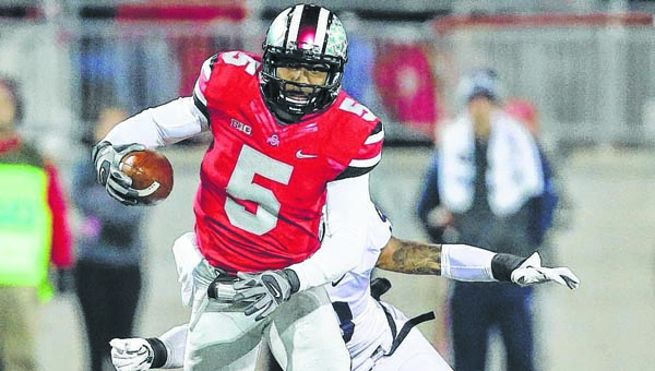 Ohio State Buckeyes' senior Braxton Miller (5) has shifted from quarterback to wide receiver and slot back for this season. (Photo Courtesy of The Lima News)