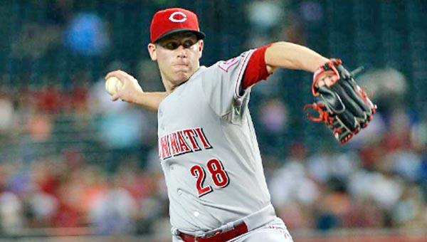 Cincinnati Reds' Anthony DeSclafani delivers a pitch during Sunday's game against the Arizona Diamondbacks. DeSclafani worked six innings but the Reds lost 4-3 in 10 innings. (Photo Courtesy of The Cincinnati Reds)