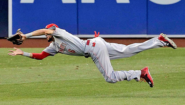 Cincinnati Reds' outfielder Billy Hamilton makes a diving catch in the first inning of Tuesday's game. The Reds lost to the San Diego Padres 11-6. (Photo Courtesy of The Cincinnati Reds)