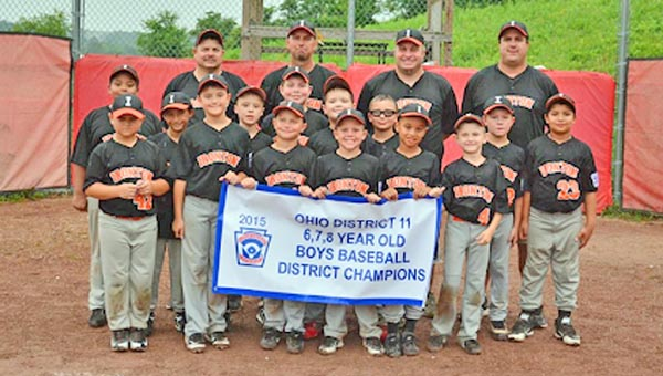 The Ironton Little League 6-8-year-old All-Stars won the District 11 championship this season. Team members are: front row from left to right, Carson Willis, Maddox Vass, Landon Rowe, Brycen Mullins, Markel Cotton and Devin Holtzapfel; second row from left to right, Bryson Hayes, Quentin Johnson, Nick Sites, Bowen Gossett, Wesley Neal, Barkley Litton, Tyson Cox and Aidan Layne; back row are coaches John Holtzapfel, Jimmy Rowe and Nick Medinger and manager Mark Vass. (Photo Submitted)