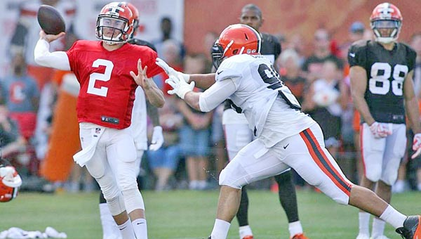 Cleveland Browns' QB Johnny Manziel (2) throws on the run in practice. Manziel said his total focus now is on football. (Photo Courtesy of The Cleveland Browns)